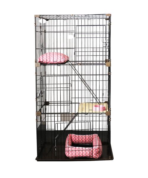 宠物钢丝猫笼YD199(喷塑,PP底盘)